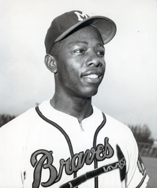 Henry Aaron hit his first big league home run off the same pitcher who surrendered his first big league hit: The Cardinals' Vic Raschi. (National Baseball Hall of Fame and Museum)