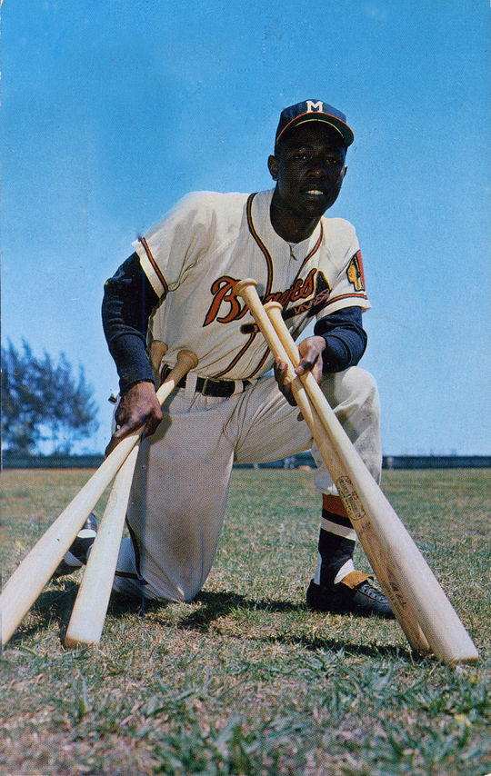 Henry Aaron finished fourth in the National League Rookie of the Year Award voting in 1954 after hitting 13 home runs and driving in 69 runs in 122 games. (National Baseball Hall of Fame and Museum)