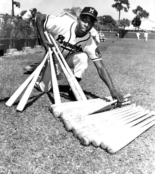 Mike Lum played with Hall of Famer Hank Aaron, pictured here, during his many seasons with the Braves. (National Baseball Hall of Fame and Museum)