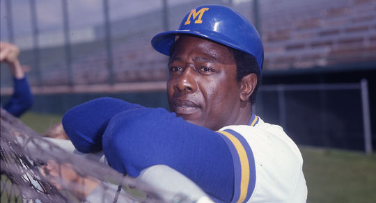 Hank Aaron played for the Milwaukee Brewers for the final two seasons of his big league career in 1975 and 1976. (Doug McWilliams / National Baseball Hall of Fame)