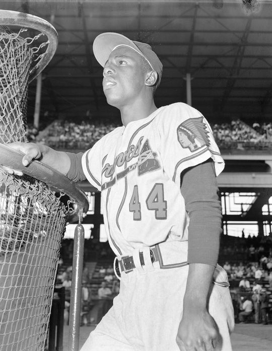Hank Aaron won the National League Most Valuable Player Award in 1957 in just his fourth season in the majors. Aaron led all of baseball with 44 home runs and 132 RBI that year while powering the Braves to the World Series title. (Osvaldo Salas/National Baseball Hall of Fame and Museum)