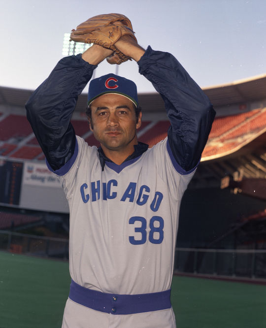 A late-inning workhorse for the Cubs, Bob Locker totaled 106 innings with an ERA of 2.54 and 18 saves in 1973. He soon usurped the closer's role from Jack Aker, pictured above. (Doug McWilliams / National Baseball Hall of Fame and Museum)