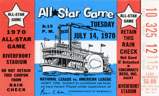 A ticket from the 1970 MLB All-Star Game on July 14, 1970 in Cincinnati, Ohio. BL-25-88 (National Baseball Hall of Fame Library)