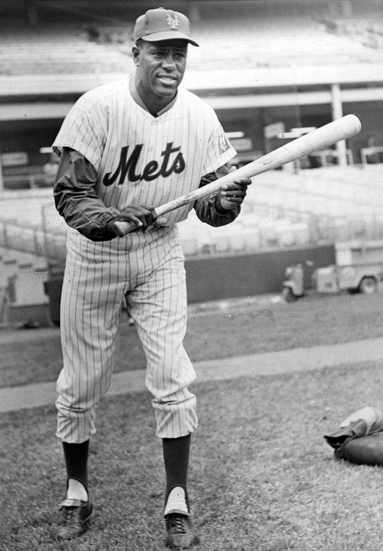 """George Altman was traded by the St. Louis Cardinals to the New York Mets in 1963 for pitcher Roger Craig. He would only be on the team for one season, before being traded back to the Chicago Cubs. <a href=""""http://collection.baseballhall.org/PASTIME/george-altman-posed-bunting-photograph-1964"""">PASTIME</a> (National Baseball Hall of Fame and Museum)"""