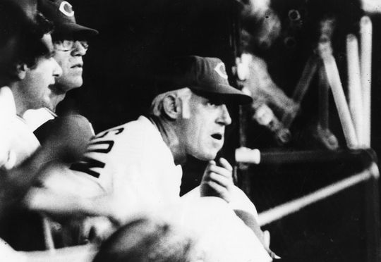 Manager Sparky Anderson looks on from the Cincinnati Reds' bench during a game on Oct. 2, 1973. Anderson led the Reds to four NL pennants and two World Series titles during the 1970s. BL-5555-73 (National Baseball Hall of Fame Library)