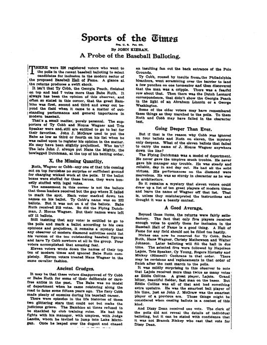 Article written by columnist John Kieran in the Feb. 4, 1936 edition of <em>The New York Times</em>, in which he asks why Ty Cobb did not receive the full unanimous support of the BBWAA voting electorate. (National Baseball Hall of Fame Library)