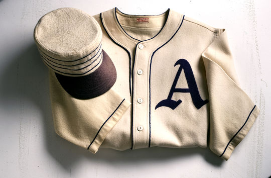 This cap and jersey, used by Chief Bender while he was playing for the Philadelphia Athletics, are now preserved at the National Baseball Hall of Fame. (Milo Stewart Jr. / National Baseball Hall of Fame)