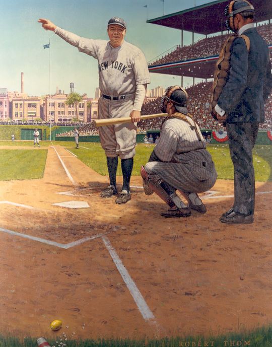 "Robert Thom's painting depicting Babe Ruth's ""Called Shot"" in the 1932 World Series, is part of the Hall of Fame's collection of artwork. B-325.76A (National Baseball Hall of Fame)"