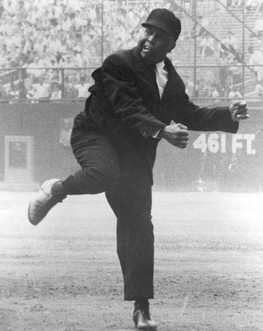 """Emmett Ashford was known for his flamboyant way of calling a baseball game, making sure that every fan in the stadium knew the outcome of every play. <a href=""""http://collection.baseballhall.org/islandora/object/islandora%3A487736"""">PASTIME</a> (National Baseball Hall of Fame and Museum)"""