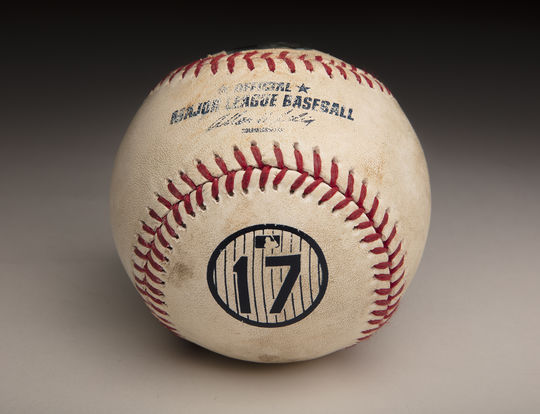 The baseball Michael Cuddyer hit to record his second cycle on Aug. 17, 2014 featured Todd Helton's No. 17 on it. The legendary Rockies first baseman had his number retired prior to the game. Cuddyer donated the ball to the Hall of Fame at the 2017 Hall of Fame Classic.(Milo Stewart Jr. / National Baseball Hall of Fame and Museum)