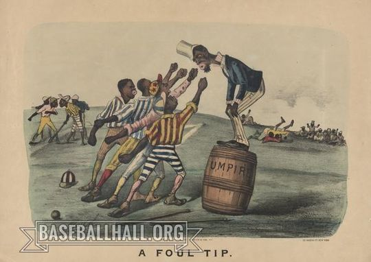 """""""Dark Town Comics"""" were published by Currier and Ives from the 1870s through 1890s, and demonstrated a shift in racial views in America. (National Baseball Hall of Fame and Museum)"""