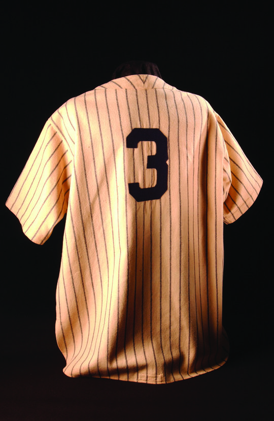 """The Babe Ruth jersey that the Hall of Fame has on display is fortunately not covered in strawberry juice, like the one that George Costanza was donning in the <em> Seinfeld</em> episode, """"The Millenium."""" (Milo Stewart Jr. / National Baseball Hall of Fame)"""