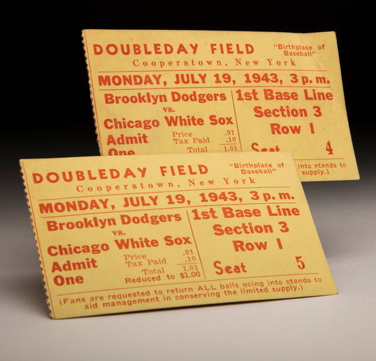 These tickets to the 1943 Hall of Fame game were for first base line seats at Doubleday field. They were recently donated to the Hall of Fame's collection. (Milo Stewart Jr./ National Baseball Hall of Fame and Museum)