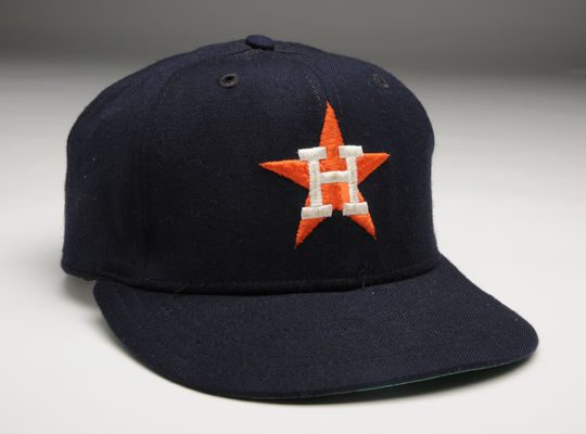 Houston Astros cap worn by pitcher Nolan Ryan on April 27, 1983 when he threw his 3,509th career strikeout. B-146-83 (Milo Stewart Jr. / National Baseball Hall of Fame)