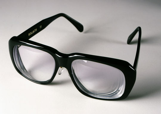 """As part of an October 1996 Weekend Update, Will Ferrell appeared as 1989 Frick Award winner and long-time Chicago Cubs broadcaster Harry Caray to preview the 1996 Braves-Yankees World Series. Caray's actual glasses are currently on display in the """"We Are Baseball"""" spectacular, touring across the country. (Milo Stewart Jr. / National Baseball Hall of Fame)"""