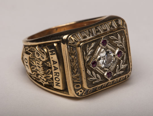 """Hank Aaron batted .393 during the 1957 World Series against the New York Yankees. The Milwaukee Braves took the series in seven games. Aaron's World Series ring, pictured above, is currently on display at """"A Salute to the Life and Times of Henry Aaron,"""" in Atlanta.  (Milo Stewart Jr.  / National Baseball Hall of Fame)"""