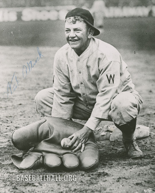 """Washington Senators pitcher Nick Altrock poses with his large baseball glove. <a href=""""https://collection.baseballhall.org/PASTIME/nick-altrock-photograph-probably-1924-0"""">PASTIME</a> (National Baseball Hall of Fame and Museum)"""