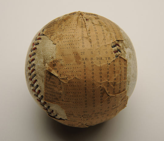 This ball, which was used in Ruth's second August shutout in 1916, a 6-0 victory on Aug. 24th against Detroit, is preserved in the National Baseball Hall of Fame and Museum's artifact collection. (Milo Stewart Jr. / National Baseball Hall of Fame)