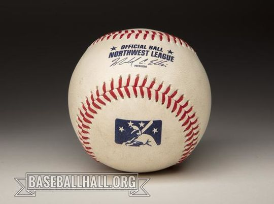 """<a href=""""https://collection.baseballhall.org/PASTIME/salem-keizer-volcanoes-solar-eclipse-baseball-2017-august-21-0"""">This baseball</a> was thrown by Hillsboro Hops' pitcher Tyler Badamo as the """"second"""" first pitch following the solar eclipse delay during a game against the Salem-Keizer Volcanoes on Aug. 21, 2017. (Milo Stewart Jr./National Baseball Hall of Fame and Museum)"""