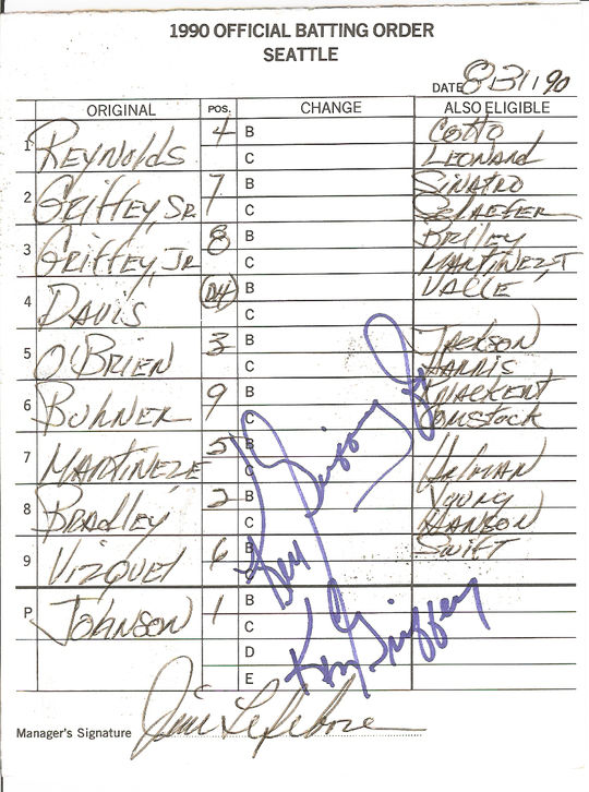 A 1990 lineup card signed by both Ken Griffey Jr. and Sr. when they made history as the first father-son duo to play on the same team. (National Baseball Hall of Fame)