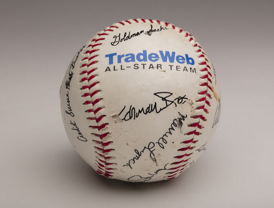 New York City fireman Vin Mavaro found this baseball while cleaning up debris at Ground Zero following the September 11th terrorist attacks. After loaning it to the National Baseball Hall of Fame and Museum for the Hall's <em>Baseball As America</em> national tour, Mavaro changed the loan into a permanent donation in 2008. (Milo Stewart Jr. / National Baseball Hall of Fame and Museum)