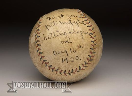 """Carl Mays and Babe Ruth signed <a href=""""https://collection.baseballhall.org/PASTIME/carl-mays-and-babe-ruth-autographed-ball-1920-august-23-5""""> this ball</a> from Mays' complete game on Aug. 23, 1920. It was just one start after Mays hit Ray Chapman in the skull with a pitch, resulting in Chapman's death. (Milo Stewart Jr./National Baseball Hall of Fame and Museum)"""