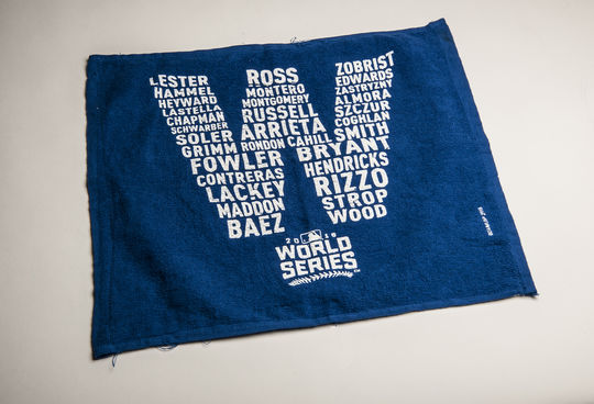 "This towel, with the 2016 Cubs players listed as a ""W"", was donated to the Hall of Fame following the Cubs' win in the 2016 World Series. (Milo Stewart Jr./National Baseball Hall of Fame and Museum)"