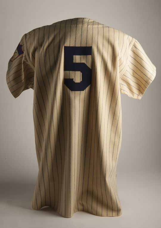 After comparing this Joe DiMaggio jersey with the jersey he wore during his cameo in the movie <em>Angels In The Outfield</em>, Hall of Fame researchers determined that they were one and the same. (Milo Stewart Jr. / National Baseball Hall of Fame and Museum)