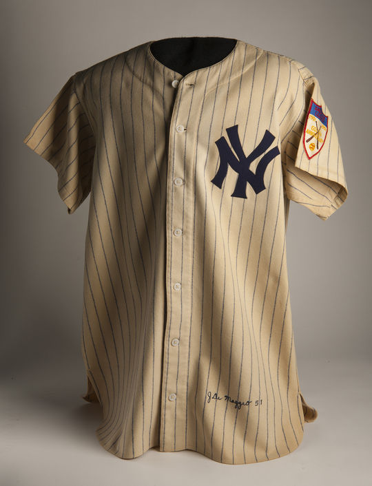 After his number 5 was retired by the New York Yankees in 1952, Joe DiMaggio donated this jersey to the Baseball Hall of Fame. It is currently on the Hall of Fame Tour. (Milo Stewart Jr. / National Baseball Hall of Fame and Museum)