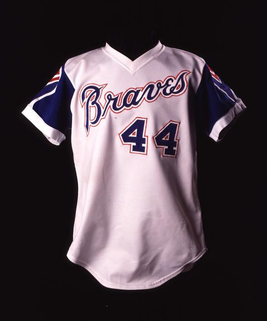 Uniform top worn by Hall of Famer Hank Aaron. B-5-87 (Milo Stewart Jr. / National Baseball Hall of Fame)