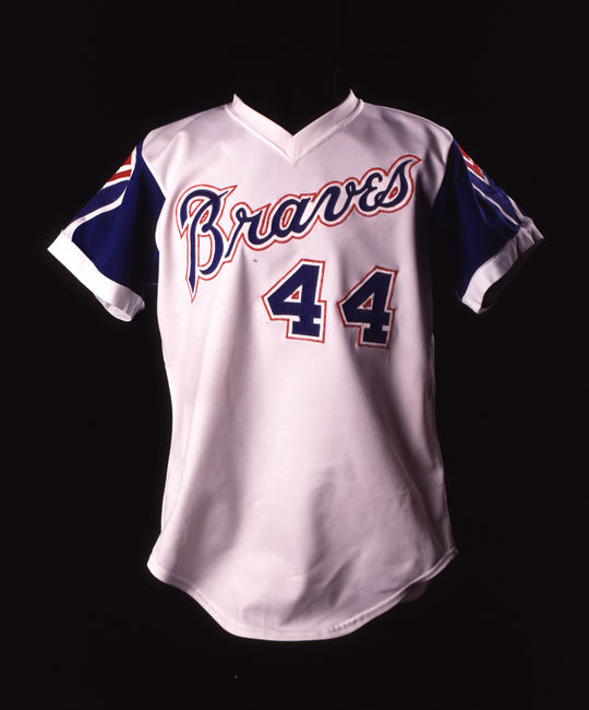 Uniform top worn by Hall of Famer Hank Aaron. B-5-87 (Milo Stewart Jr. / National Baseball Hall of Fame)