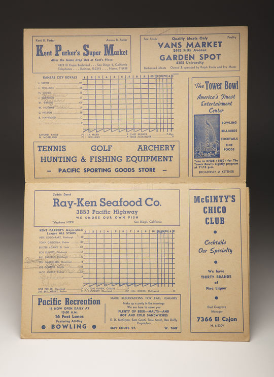 "This scorecard from a game between Chet Brewer's Kansas City Royals and Kent Parker's Major-Minor League All-Stars on Oct. 24, 1945, was recently donated to the Hall of Fame. <a href=""http://collection.baseballhall.org/islandora/object/islandora%3A503927"">PASTIME</a> (Milo Stewart Jr. / National Baseball Hall of Fame and Museum)"