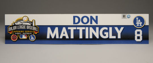 Temporary locker room tag for Don Mattingly, the Los Angeles Dodgers' manager, used in 2014 MLB Opening Series in Sydney Australia. B-82-2014 (Milo Stewart Jr. / National Baseball Hall of Fame)