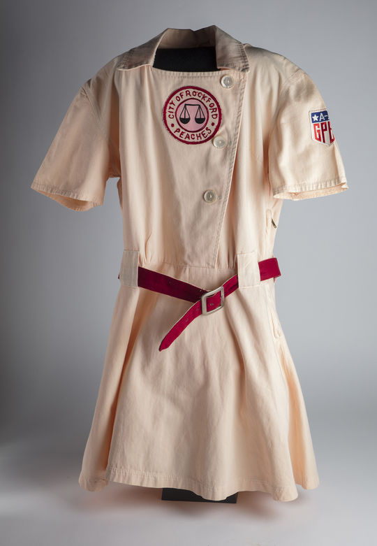 This tunic, now part of the Museum's collection, was used in the 1992 film <em>A League of Their Own</em>. (Milo Stewart Jr./National Baseball Hall of Fame and Museum)