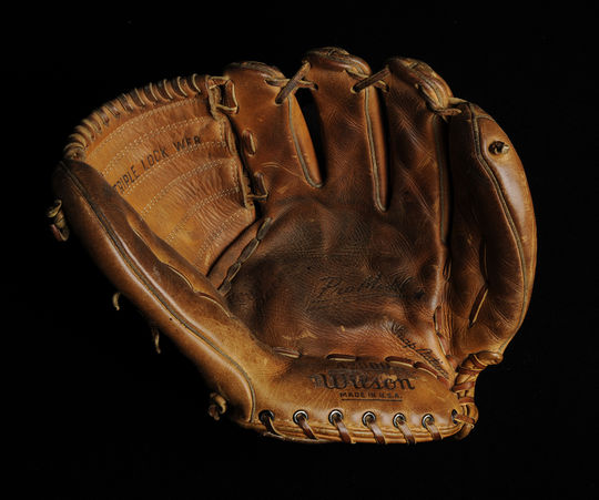 This glove was used by Early Wynn on his 300th victory, and now resides in the National Baseball Hall of Fame and Museum. (Milo Stewart Jr. / National Baseball Hall of Fame)