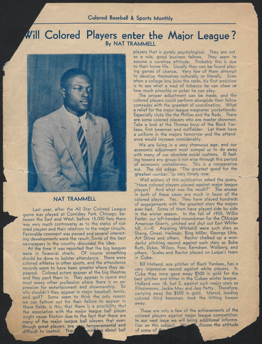 """Nat Trammell's """"Will Colored Players enter the Major League?"""" appeared in the Sept. 1, 1934 """"Colored Baseball & Sports Monthly.""""  In it, he mentions, almost in passing, that Marcelle had won $500 in gold in the winter Cuban League.  BA-EPH-Negro-Leagues-7-002. (National Baseball Hall of Fame and Museum)"""