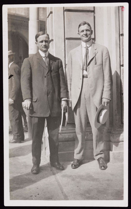 """Christy Mathewson talks like a Harvard graduate, looks like an actor, acts like a businessman, and impresses you as an all-around gentleman."" The man on the left is unidentified.   BA-PF-Christy-Mathewson-Group-005  (National Baseball Hall of Fame and Museum)"