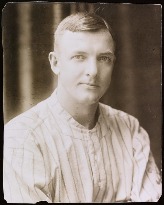 An early photograph capturing Christy Mathewson's trademark smile.  BA-PF-Christy-Mathewson-H&S-027  (National Baseball Hall of Fame and Museum)
