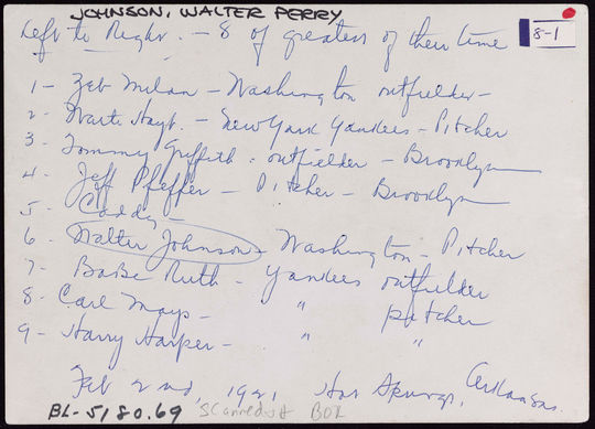 """The back of the photo lists the players, teams, and positions.  At the top is written """"8 of greatest of their time.""""   BA-PF-Walter-Johnson-Misc-004  (National Baseball Hall of Fame and Museum)"""