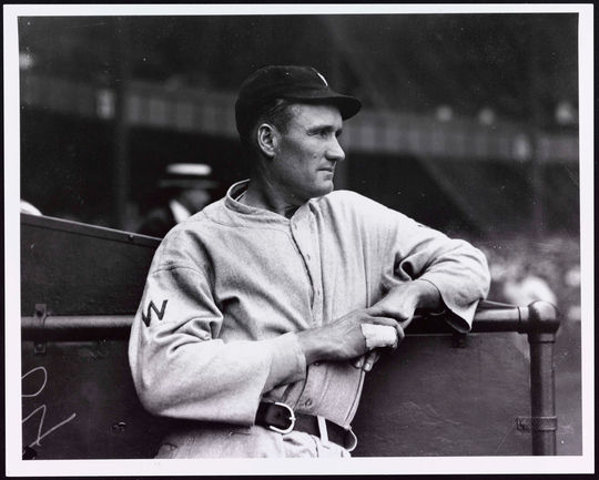 Walter Johnson pitched 21 seasons in the Major Leagues, all with the Washington Senators.  His teammates included Clyde Milan and Harry Harper.  BA-PF-Walter-Johnson-Portrait-063  (National Baseball Hall of Fame and Museum)