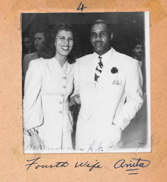 "Art Pennington with his fourth wife, Anita.  She was a Mexican of Spanish descent with red hair and ""movie star"" looks.  Her white skin caused problems for them in the United States.  BA-SCR-2-003  (National Baseball Hall of Fame)"