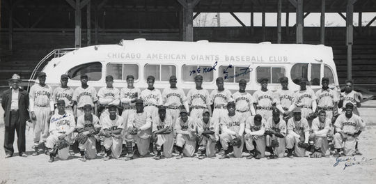 The 1950 Chicago American Giants.  Pennington, labelled, is 7th from the right; 8th from the right is Clyde McNeal.  Front row, far right, is Jesse Douglas.   BA-SCR-2-055   (National Baseball Hall of Fame)