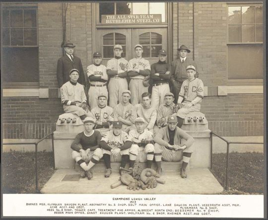 This photo of the 1913 Bethlehem Steel All-Star Team is one of several of Industrial League images in the collection of the National Baseball Hall of Fame and Museum. (National Baseball Hall of Fame and Museum)