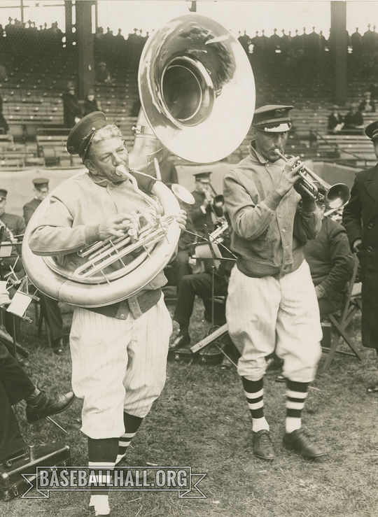 """Nick Altrock (left) and Al Schacht were two of the most famous baseball clowns of the first half of the 20th century.. <a href=""""https://collection.baseballhall.org/PASTIME/nick-altrock-and-al-schacht-playing-instruments-photograph-undated-0"""">PASTIME</a> (National Baseball Hall of Fame and Museum)"""