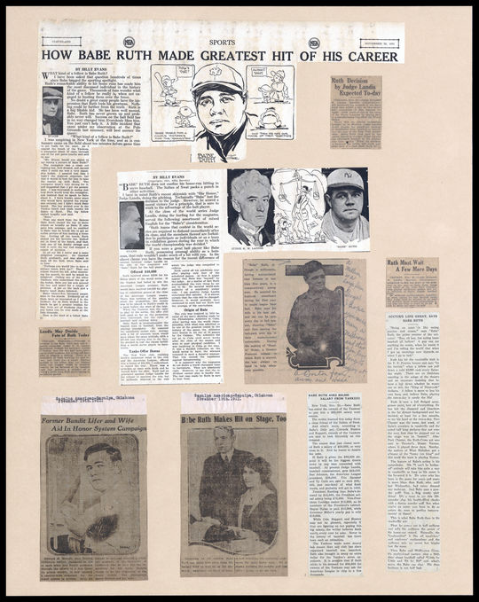 An example of a single page from the Babe Ruth Scrapbooks.  The Baseball Hall of Fame Library houses 25 volumes of Babe Ruth Scrapbooks, containing a total of 1454 pages of newspaper clippings. BL-161-56-1 (National Baseball Hall of Fame Library)
