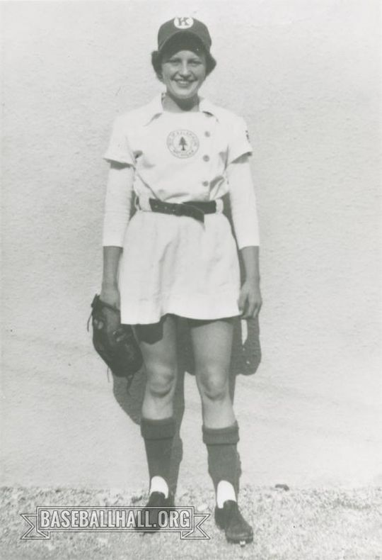 In 1953, Joyce Steele was selected to play with the Kalamazoo Lassies of the All-American Girls Professional Baseball League. (National Baseball Hall of Fame and Museum)
