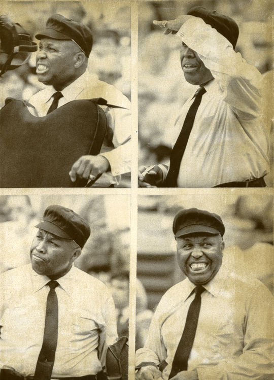 """In order to prepare for his career in the American League, Emmett Ashford slept with the AL-style chest protector and worked some local minor league games in it. <a href=""""http://collection.baseballhall.org/islandora/object/islandora%3A349745"""">PASTIME</a> (National Baseball Hall of Fame and Museum)"""