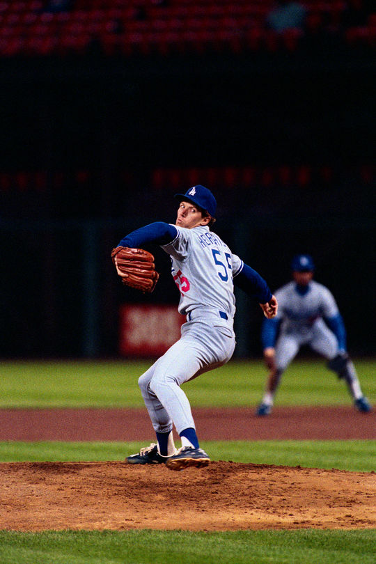 Orel Hershiser finished his career with the Dodgers in 2000. He totaled 204 wins against 150 losses, posting a 3.48 ERA and 25 shutouts. (Brad Mangin / National Baseball Hall of Fame)
