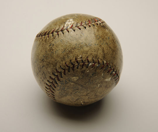 Babe Ruth's 60th home run ball is currently on exhibit in the Museum's <em>Babe Ruth: His Life and Legend</em> exhibit. (Milo Stewart Jr. / National Baseball Hall of Fame)