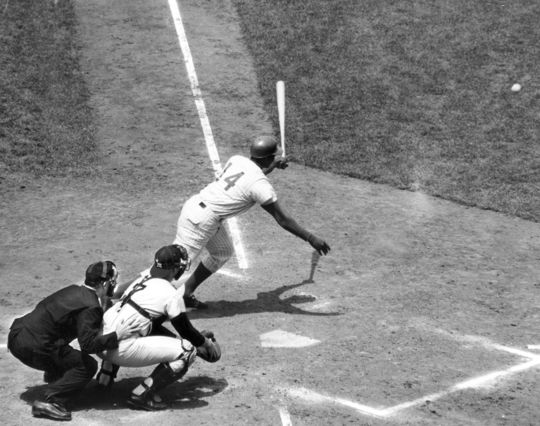 Ernie Banks batting during a Chicago Cubs game. BL-7510.71a (National Baseball Hall of Fame Library)